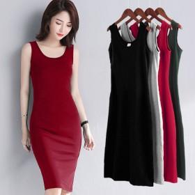 韩版无袖吊带黑色连衣裙背带裙子女学生显瘦打底裙中长