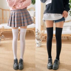 日系长筒袜学生性感黑色天鹅绒大腿过膝袜纯色高筒