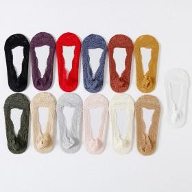 糖果色浅口蕾丝硅胶防脱隐形船袜脚底防滑女士花边条纹