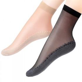 2双装 天鹅绒短丝袜女士棉底吸汗防滑臭耐磨中筒短袜