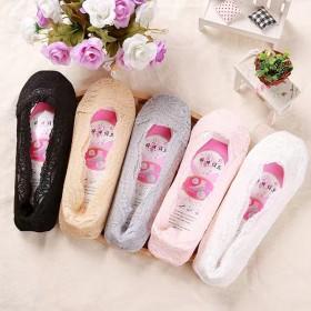 女夏季女士隐形袜防滑防脱蕾丝花边袜子耐磨棉底船袜