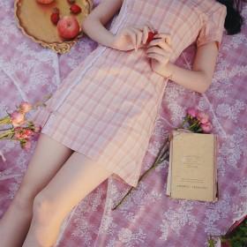 改良短款格子旗袍裙子年轻款少女小个子连衣裙学生夏复