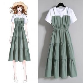 吊带连衣裙女夏韩版时尚气质收腰显瘦大码拼接假两件长