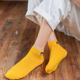 日系小熊船袜夏纯色女士袜子竹纤维袜子跑步袜子透气袜