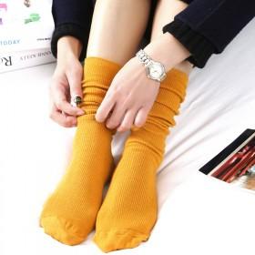 堆堆袜 女 日系秋冬棉薄款女袜 纯色复古森系短靴袜