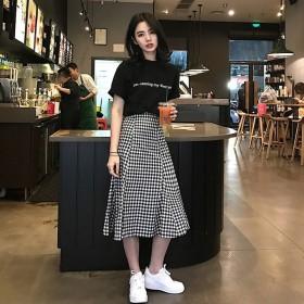休闲风裙子女夏2020新款套装裙中长款气质显瘦简约
