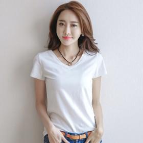 韩版短袖T恤女新款修身棉体恤女纯色圆领上衣张波波