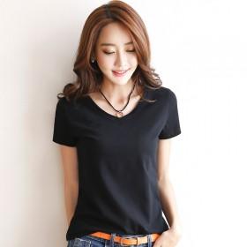 韩版短袖T恤女新款修身棉体恤女纯色圆领上衣林荣恒