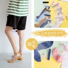 小雏菊薄款短袜ins潮流玻璃丝网纱船袜隐形水晶袜女