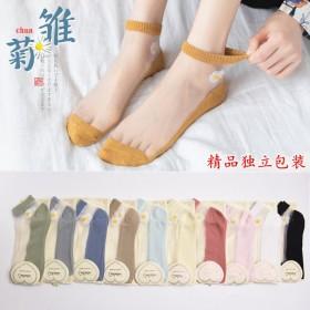 袜子女 短袜日系小雏菊女袜夏季玻璃丝棉底丝袜女士袜