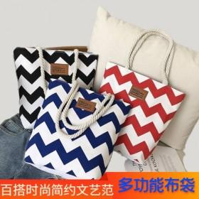 单肩手提帆布包百搭大容量布袋包新款妈咪购物袋韩版女