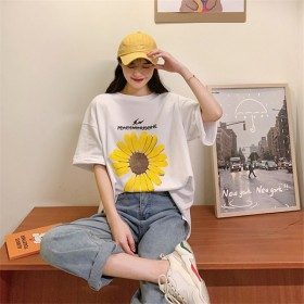 清凉菊花宽松T恤夏季新款小雏菊T恤大码学生上衣20