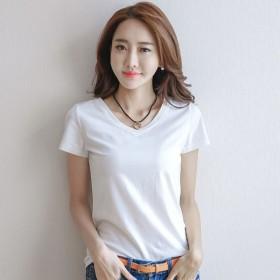 韩版短袖T恤女夏季新款修身短体恤女色圆领上衣韩国百