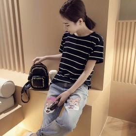 短袖女士韩版学生修身条纹T体恤圆领套头百搭打钟龙贵