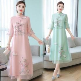 重刺绣连衣裙2020夏季新款中国民族风改良旗袍气质