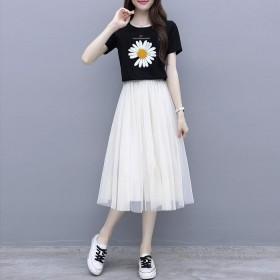 百搭网纱半身裙中长款百褶裙高腰显瘦A字裙仙女裙