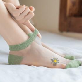 女丝袜隐形小雏菊袜子女卡丝棉袜ins潮日系玻璃丝袜