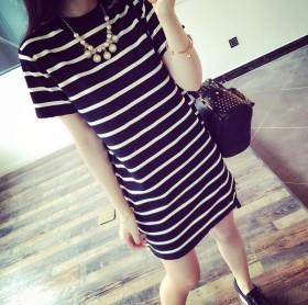 2020女装中长款女式条纹宽松短袖T恤女韩版