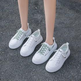 爆款2020小白鞋女夏季新款时尚休闲平底镂空厚底