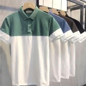 夏新款男士拼色POLO衫修身短袖翻领潮流撞色T恤