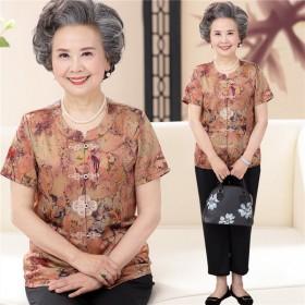 套装老人衣服女中老年人奶奶夏装T恤