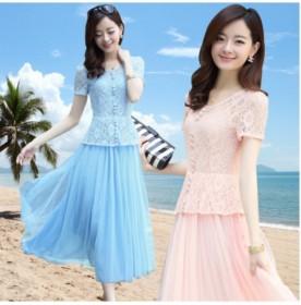 夏装新款韩版蕾丝中腰长裙显瘦透气短袖蓝粉色连衣裙女