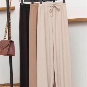新款高腰垂感休闲裤子女学生韩版宽松显瘦直筒阔腿裤