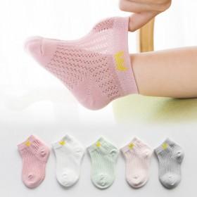 【5双装】儿童袜子夏薄款纯棉春女童网眼透气