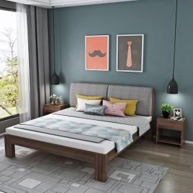 实木床1.5米现代简约1.8米双人床简易送床垫