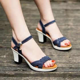 真皮凉鞋女夏季款新款仙女风高跟鞋粗跟大码百搭时尚鞋