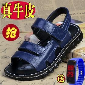 头层牛皮男童凉鞋夏季软底防滑真皮儿童凉鞋中大童小男