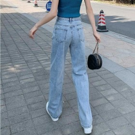 浅色阔腿牛仔裤女2020夏季新款薄款高腰垂感直筒宽