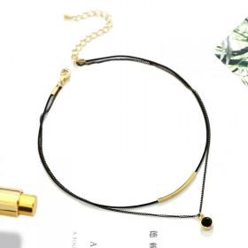 韩版双层水晶颈链项圈choker短款皮绳锁骨链首饰