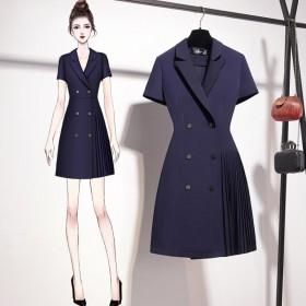 夏季新款小个子西装裙轻熟风连衣裙气质女神范小香风裙