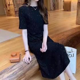 星空闪闪连衣裙黑色长款大摆裙网红爆款夏季百搭长裙子