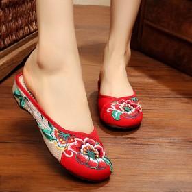夏季老北京布鞋绣花鞋包头拖鞋牛筋底民族风防滑亚麻妈