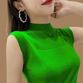 2件装冰丝背心女春夏韩版外穿吊带针织短袖t恤女打底