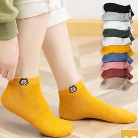 5双夏天短袜女袜子小熊雏菊浅口纯棉薄款