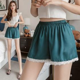 撞色丝缎蕾丝打底三分裤韩版安全裤女防走 光可外穿
