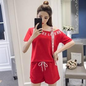 网红休闲运动套装女2020夏季新款一字肩短袖T恤