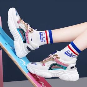 镂空老爹鞋女韩版青年网红透气网面运动鞋厚底百搭休闲