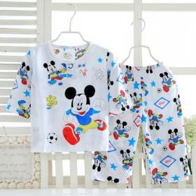 夏季中小童睡衣薄款2020年新款男童女童棉绸套装家