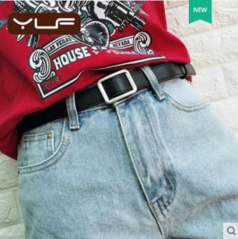 无孔女士皮带简约百搭韩国时尚网红ins风黑色牛仔裤