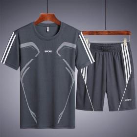 短袖男套装夏季速干圆领休闲运动男跑步潮流两件套