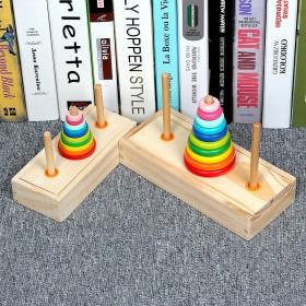 汉诺塔木制10层8层益智儿童汉罗塔玩具小学生逻辑思