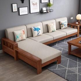 实木现代中式沙发贵妃拉床冬夏两用储物款客厅转角布艺