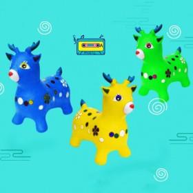 儿童玩具音乐跳跳马加厚跳跳鹿坐骑马充气小马小鹿皮马
