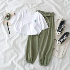 韩版网红休闲哈伦裤套装女学生百搭短袖T恤简约两件套
