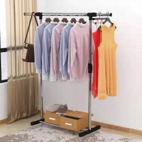 不锈钢晾衣架落地伸缩折叠室内阳台升降简易单双杆