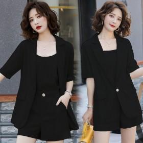 新款小个子冰丝西装短裤套装女夏季时尚韩版小香风三件